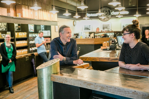 "From the first Starbucks at Pike Place Market on June 4, 2018, photo of Howard Schultz who will bid farewell to the company on June 26, 2018 and will be honored as chairman emeritus. Schultz, who reimagined the Italian coffeehouse tradition in America and redefined the role and responsibility of a publicly-held company, announced his departure as executive chairman of Starbucks telling over two million past and present partners (employees), ""We did it together, by balancing profitability and social conscience."""