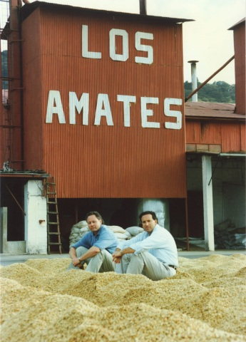 "Photographed in the early 1990s, Howard Schultz in Guatemala on a coffee farm with 27-year partner, Dave Olsen. Dave was the company's first chief coffee buyer who later became senior vice president of culture and leadership development before he retired in 2013. Schultz has referred to Dave over the years as the ""coffee conscience of the company."""