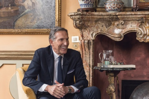 Howard Schultz photographed in Milan, Italy in February 2016. Following his transition off the Starbucks Board of Directors at the end of June, Schultz will oversee the opening of the Starbucks Reserve Roastery in Milan on Sept. 6 – marking the company's long-awaited entry into Italy – and the New York Roastery in late October.