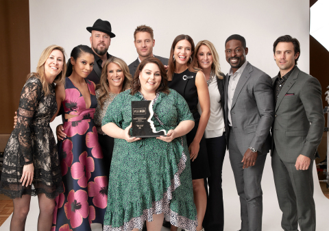NBC's This Is Us cast accepts first #SeeHer Programming Award from SeeHer leadership. Photo credit: NBC (L-R, Gail Tifford, Susan Kelechi Watson, Chris Sullivan, Shelley Zalis, Justin Hartley, Chrissy Metz, Mandy Moore, Patty Kerr, Sterling K. Brown and Milo Ventimiglia)
