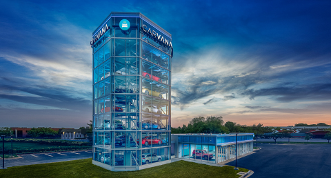Carvana's newest Car Vending Machine, located in Washington, D.C., stands eight stories high and holds up to 30 vehicles. The newest location joins its counterparts in Houston, Austin, San Antonio, Dallas, Nashville (Tenn.), Raleigh (N.C.), Charlotte (N.C.), Jacksonville (Fla.) and Tampa (Fla.). (Photo: Business Wire)