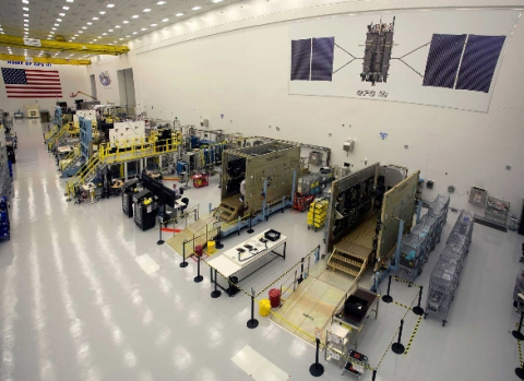 GPS III satellites in production flow at Lockheed Martin's GPS III Processing Facility near Denver. Harris navigational payloads have been delivered for the first five GPS III satellites. (Photo: Business Wire)