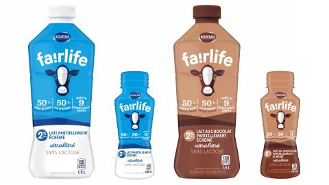 Lait ultrafiltré fairlife, sur l'image: lait partiellement écrémé 2% en format de 1,5L, lait partiellement écrémé 2% en format de 240 mL, lait au chocolat partiellement écrémé 2% en format de 1,5L, lait au chocolat partiellement écrémé en format de 240 mL. Le lait écrémé en format de 1,5L et le lait entier 3,25% en format de 1,5L seront aussi disponibles. (Photo: Business Wire)