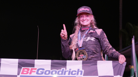 Kristen Matlock becomes first woman to win overall Utility Terrain Vehicle (UTV) NA Class helping Polaris RZR Factory Racing claim two podium sweeps in Pro UTV Forced Induction and Pro UTV NA Classes at the 50th BFGoodrich Tires SCORE Baja 500. (Photo: Business Wire)