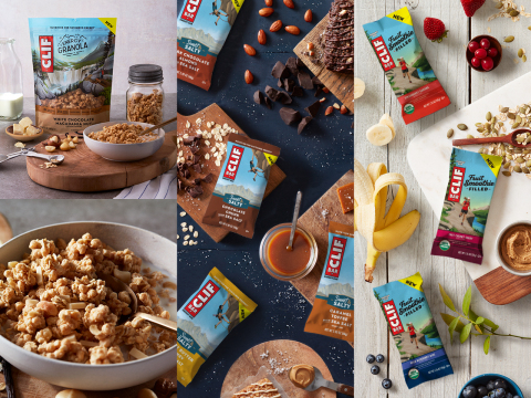 To kick off the summer adventure season and all the outdoor activities that come with it, Clif Bar & Company, a leading maker of nutritious and organic foods, today introduced three new products – CLIF® Fruit Smoothie Filled Energy Bar, CLIF® BAR Sweet & Salty and CLIF® Energy Granola, a new food category for the brand. (Photo: Business Wire)