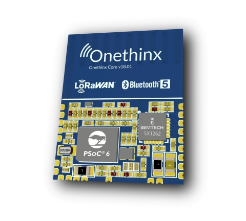 Pictured is a module by Onethinx for smart city applications featuring Cypress' PSoC 6 BLE microcontroller and Semtech's LoRaWAN technology. (Graphic: Business Wire)