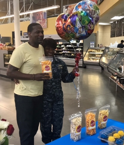 Omar and Charleese Hussan of Norfolk, VA-based Pop Culture Gourmet Popcorn, LLC celebrate their invitation to Open Call at a local store. (Photo: Business Wire)