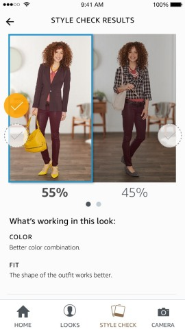 Style Check offers a second opinion of which of two outfits looks best on you, using a combination of machine learning algorithms and advice from fashion specialists. (Photo: Business Wire)