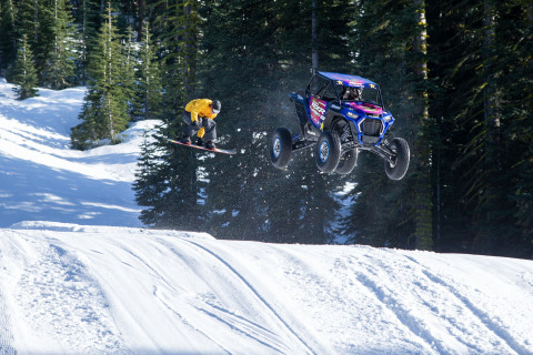 Professional off-road racer RJ Anderson shreds in the RZR XP Turbo S through the snow with professio ...