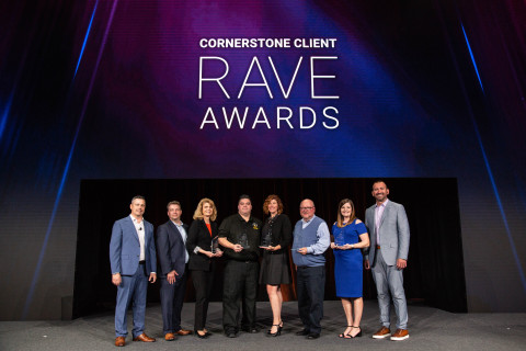 Winners of Cornerstone's 2018 Client RAVE Awards were honored at Convergence 2018, the company's 16th annual client and partner conference. Recipients include: Horace Mann (Learning Strategy Innovation); Arby's Restaurant Group (Impact on User Adoption); ArcBest (Visionary in Performance Management); Assurance Agency (Transformational HR and Talent Strategy); and Ventura County Fire Department (Advancement in Reinventing Work). (Photo: Business Wire)