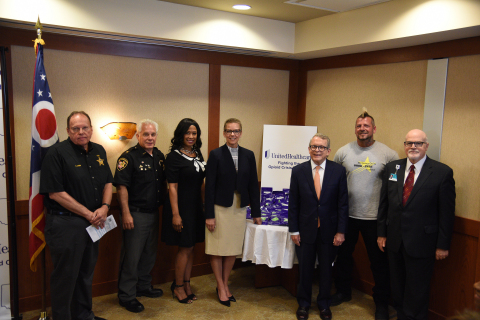 Bruce Langos, criminal intelligence center; Montgomery County Sheriff's Office, Montgomery County Sheriff Phill Plummer; Dr. Corinn Taylor, perinatal health services director, UnitedHealthcare; Tracy Davidson, CEO, UnitedHealthcare Community Plan of Ohio; Ohio Attorney General Mike DeWine; Scott Mays; and Terry Burns, president, Kettering Medical Center. UnitedHealthcare donated 10,000 opioid disposal kits alongside Ohio Attorney General Mike DeWine  to the Montgomery County Opiate Taskforce and Kettering Medical Center to encourage safe disposal of opioids and help prevent potential misuse or diversion of these drugs (Photo: ManaVision, Inc.).