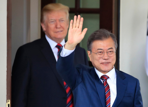 South Korean President Moon Jae-in waves as he is welcomed by President Donald Trump to the White House in Washington - 22 May 2018. (Mandatory Credit: Photo by Manuel Balce Ceneta/AP/REX/Shutterstock)