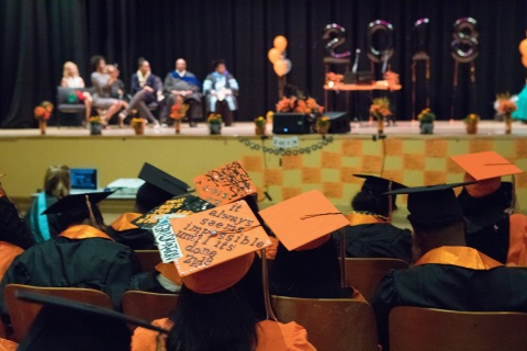 Seniors at McClymonds High School in Oakland, California, gather for graduation ceremonies on Thursday, June 7, 2018. Of the 62 McClymonds graduating seniors, 60 plan to attend college. Since 2015, Intel has partnered with the Oakland Unified School District to develop and improve computer science and engineering courses at two schools. (Credit: Intel Corporation)