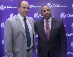 (From left to right) Mario Marciano, C&W Business, Vice President of LATAM and Teudis Quezada, C&W Business, Country Manager, Santo Domingo, Dominican Republic, June 7, 2018. (Photo: Business Wire)