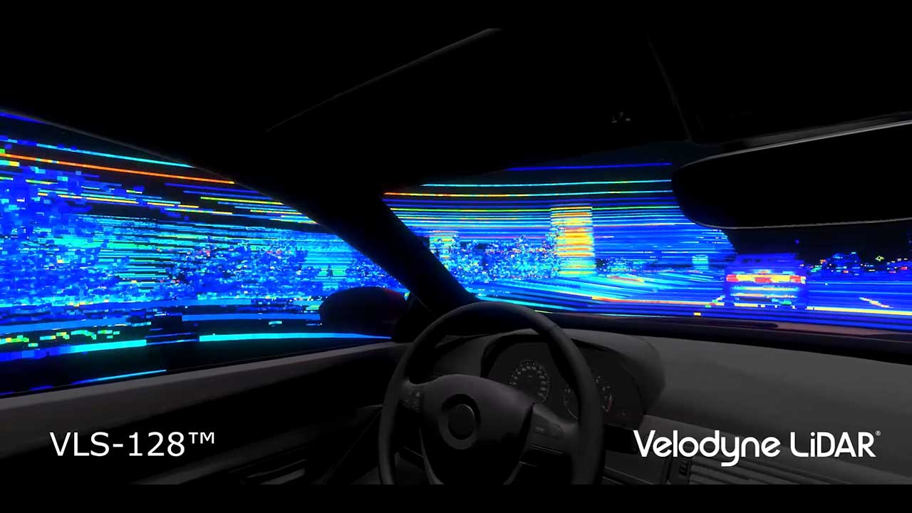 Raw data from a single Velodyne VLS-128™ sensor mounted on a moving vehicle.