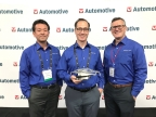 Hideo Fukunaga (left), John Eggert (center) and Dan Cowan (right) of Velodyne LiDAR accept Industry Choice Company of the Year Award at TU-Automotive Detroit Conference. (Photo: Business Wire)