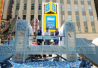 In celebration of World Oceans Day, Dopper Foundation and National Geographic Encounter unveiled a replica of the Brooklyn Bridge in Times Square made with 5,000 recycled single-use plastic water bottles to turn the tide on plastic pollution through art and education. Fishing for solutions on the Plastic Bridge, Dr. Sylvia Earle, celebrated marine biologist and National Geographic Explorer-In-Residence; Merjin Everaarts, Founder, Dopper Foundation; and Lisa Truitt, SPE Partners. (Photo by Diane Bondareff)