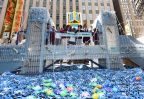 Children from PS 175 in New York fished for solutions on Dopper Foundation's Plastic Bridge - a replica of the Brooklyn Bridge made of 5,000 recycled single-use plastic water bottles. Dopper Foundation unveiled the Plastic Bridge on World Oceans Day in Times Square, in collaboration with National Geographic Encounter. (Photo by Diane Bondareff)