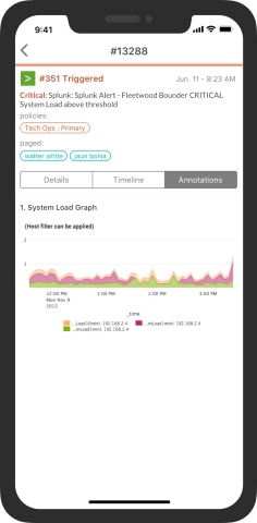 Splunk alert data on VictorOps for Mobile for DevOps incident management (Graphic: Business Wire)