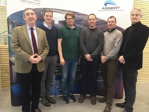 Left to right: Anthony G. Gallagher, PhD, DSc; Thomas Liebig, MD, PhD; Markus Holtmannspötter, MD; Robert Crossley, MRCS; Johan Lindkvist, MSc; Lars Lönn, MD. (Photo: Business Wire)