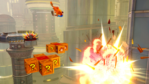 """On June 29, a brand WUMPING new """"Future Tense"""" level will arrive to Crash Bandicoot N. Sane Trilogy. The new level brings an extra layer of difficulty to Crash fans, as players dodge rockets, destroy robots and leap over lasers while ascending a massive futuristic skyscraper. Future Tense will be available to fans on Xbox, PlayStation, Nintendo Switch and/or Steam. (Photo: Business Wire)"""
