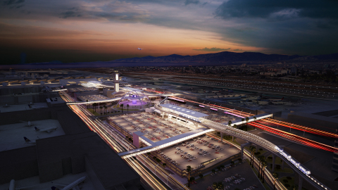 Los Angeles International Airport Automated People Mover project is shown at dusk. (Photo: Business  ...