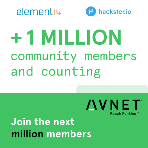 Avnet celebrates one million members who have joined its online communities of element14.com and Hackster.io, creating the world's largest collaborative networks of engineers, entrepreneurs and developers who learn from each other's product ideas. (Graphic: Business Wire)