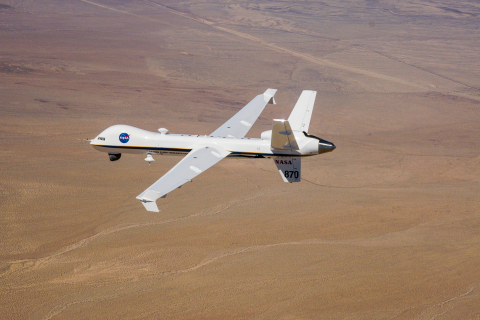 """The DAA system installed on Ikhana, a NASA-owned Predator® B/MQ-9 Unmanned Aircraft System (UAS), enabled the UAS to meet the FAA's 14 CFR 91.113(b) requirement to """"see and avoid"""" other aircraft during today's flight. (Photo: Business Wire)"""