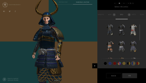 """""""IS JAPAN COOL?"""" - """"CRAFTSMANSHIP"""": On the SAMURAI AVATAR page, visitors will be able to make their own SAMURAI AVATAR. (Graphic: Business Wire)"""
