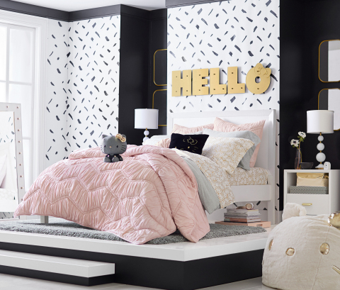 Hello Kitty x PBteen Collection featuring bedding, decorative accessories, lighting, bathroom essentials, as well as stylish gear adorned with Hello Kitty's silhouette. (Photo: Business Wire)