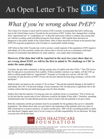 "AHF is revisiting and renewing its 2014 open letter advertisement targeting the CDC with the question ""CDC: What if You're Wrong on PrEP?"" in light of a new Australian study clearly tying PrEP use to a decrease in condom use. (Graphic: Business Wire)"