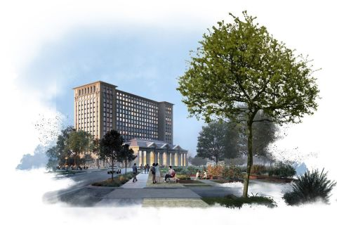 Ford will renovate Michigan Central Station to be a magnet for high-tech talent and a regional destination with retail, restaurants, residential living, modern work spaces and more. Conceptual rendering shown. (Photo: Business Wire)