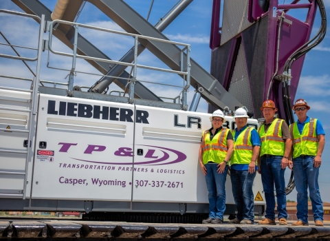Left to Right: TP&L's Founding Partners and Executive Management Shelli Stacey, Billy Brenton, Jim Orr and Justin Orr with the company's new Liebherr LR 1300 SX crawler crane. (Photo: Business Wire)