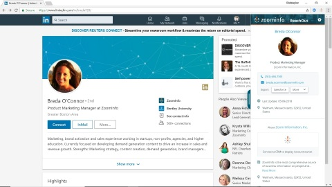 ReachOut 2.0 puts a user's accounts and contacts at their fingertips regardless of where they are on the Internet and enables direct export to leading CRMs and sales automation platforms (Photo: Business Wire)