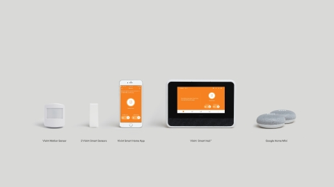 The Vivint Smart Home starter kit includes two Google Home Mini devices. (Photo: Business Wire)