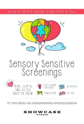 Showcase Cinemas launches new monthly Sensory Sensitive Screenings program. (Graphic: Business Wire)