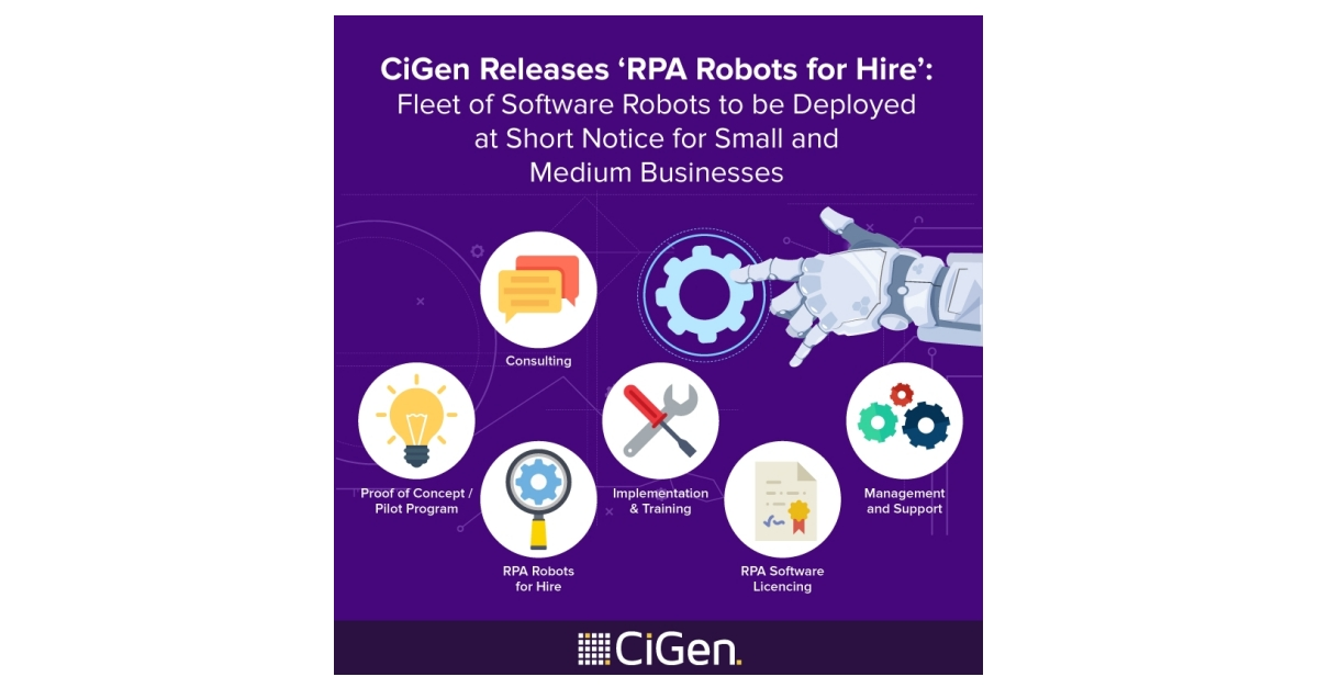 Cigen releases rpa robots for hire fleet of software robots to be cigen releases rpa robots for hire fleet of software robots to be deployed at short notice for small and medium businesses business wire thecheapjerseys Gallery