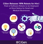 CiGen licences and manages RPA Robots for Hire, its own fleet of software robots which can be deployed and scaled at short notice to serve as the digital extension to your workforce. (Graphic: Business Wire)