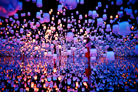 4: Forest of Lamps - Forest of Resonating Lamps - One Stroke (teamLab, 2016; Interactive digital installation, Murano glass, LEDs: Endless) (Photo: Business Wire)