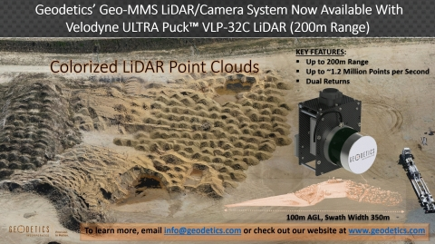 Geodetics Geo-MMS™ LiDAR/Camera mapping system is now available with Velodyne's ULTRA Puck™ VLP-32C LiDAR sensor. (Photo: Business Wire)
