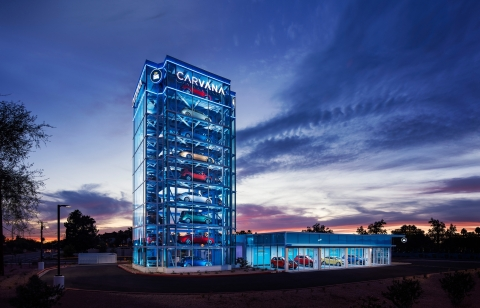 Carvana has launched its 12th Car Vending Machine, located in Tempe, Ariz. The largest to date, standing 9 stories high and holding up to 34 vehicles, it joins counterparts in Houston, Austin, San Antonio, Dallas, Nashville (Tenn.), Raleigh (N.C.), Charlotte (N.C.), Jacksonville (Fla.), Tampa (Fla.), Orlando (Fla.) and Washington, D.C. (Photo: Business Wire)