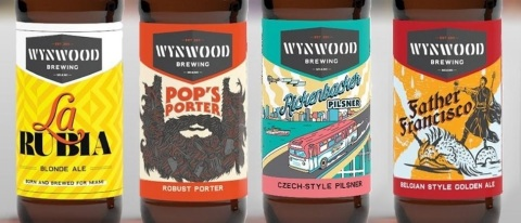 A preview of the new artwork and packaging design for Wynwood Brewing Co. (Photo: Business Wire)