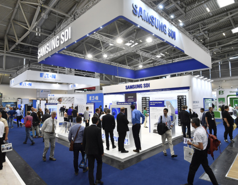 Samsung SDI participated in ees (electrical energy storage) Europe 2018 held in Munich Germany, showing its slogan 'Powering Tomorrow' refers to 'Samsung SDI's will to contribute to the future of the energy industry' and exhibiting a range of ESS products. Samsung SDI attracted attention with its 'high-voltage residential ESS battery module' that features superior energy conversion efficiency by high voltage compared to the conventional residential ESS modules. To use the power generated by the photo voltaic generator at home, a current conversion process is required, which causes power loss. In this process, the higher the voltage of the ESS holds, the lower the energy loss occurs, which leads to higher efficiency. (Photo: Business Wire)