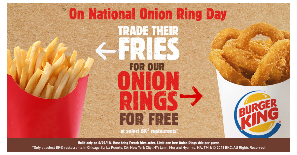 For National Onion Ring Day Trade Their Fries For Burger