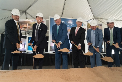 Business and civic leaders break ground on the WestStar Tower in El Paso, Texas. Pictured from left to right: Eduardo Escudero, Vice Chairman, WestStar Bank Board of Directors; El Paso County Judge Ruben Vogt; El Paso Mayor Dee Margo; L. Frederick (Rick) Francis, Chairman & CEO, WestStar Bank; Woody Hunt, Chairman, Hunt Companies, Inc. and Josh Hunt, Executive Vice President, Hunt Companies, Inc. (Photo: Business Wire)