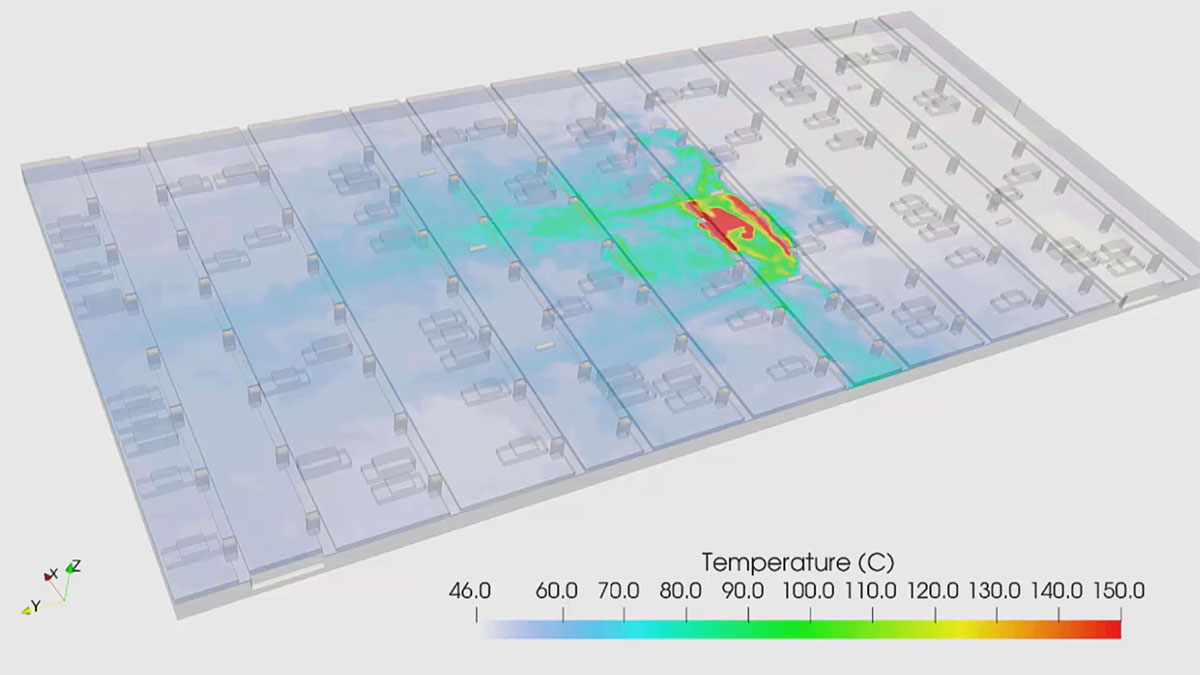 Visualization of temperature distribution in a car park fire scenario with SimScale
