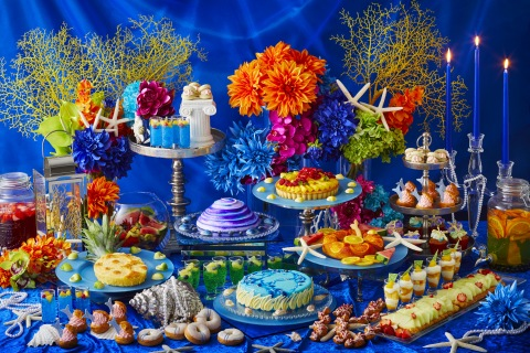 A wide range of colorful desserts based on the deep blue color and patterned after various sea creatures reminiscent of characters portrayed in the Little Mermaid fairy tale. (Photo: Business Wire)
