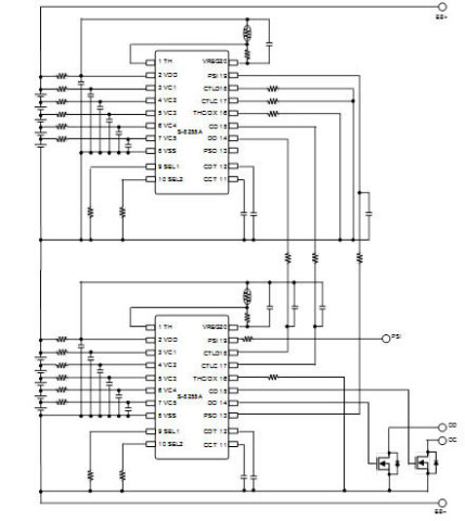 This figure shows an example of a 10-cell protection circuit using the S-8255A Series. (Graphic: Business Wire)