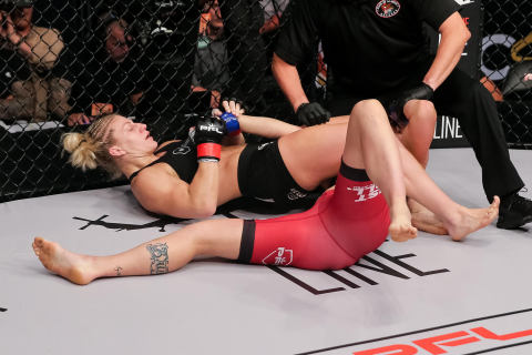 Two-Time Gold Medalist Kayla Harrison Defeats Brittney Elkin at PFL2 (Photo: Business Wire)