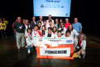 FSINGENIUM, a FIRST® LEGO® League team from Pamplona, Spain, poses after winning the Global Innovation Award in San Jose, California, for their solution to water use issues. (Photo: Business Wire)